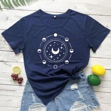 Neue Ankunft Mystische Mond Phasen T-shirt Lustige Volle Mond Astronomie T-shirt Kleidung Trendy Frauen Celestial Graphic Tee Shirt Top