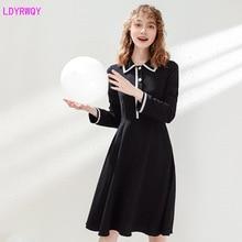 2019 autumn new fashion cute womens lapel color matching woven  temperament light mature long-sleeved dress