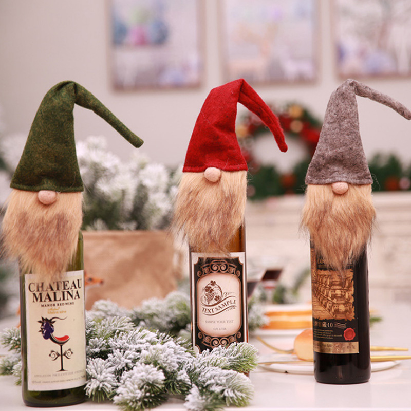 Xmas Decoration Long Beard Santa Claus Elf Wine Bottle Set Festival New Year Dinner Party Christmas Decorations For Home