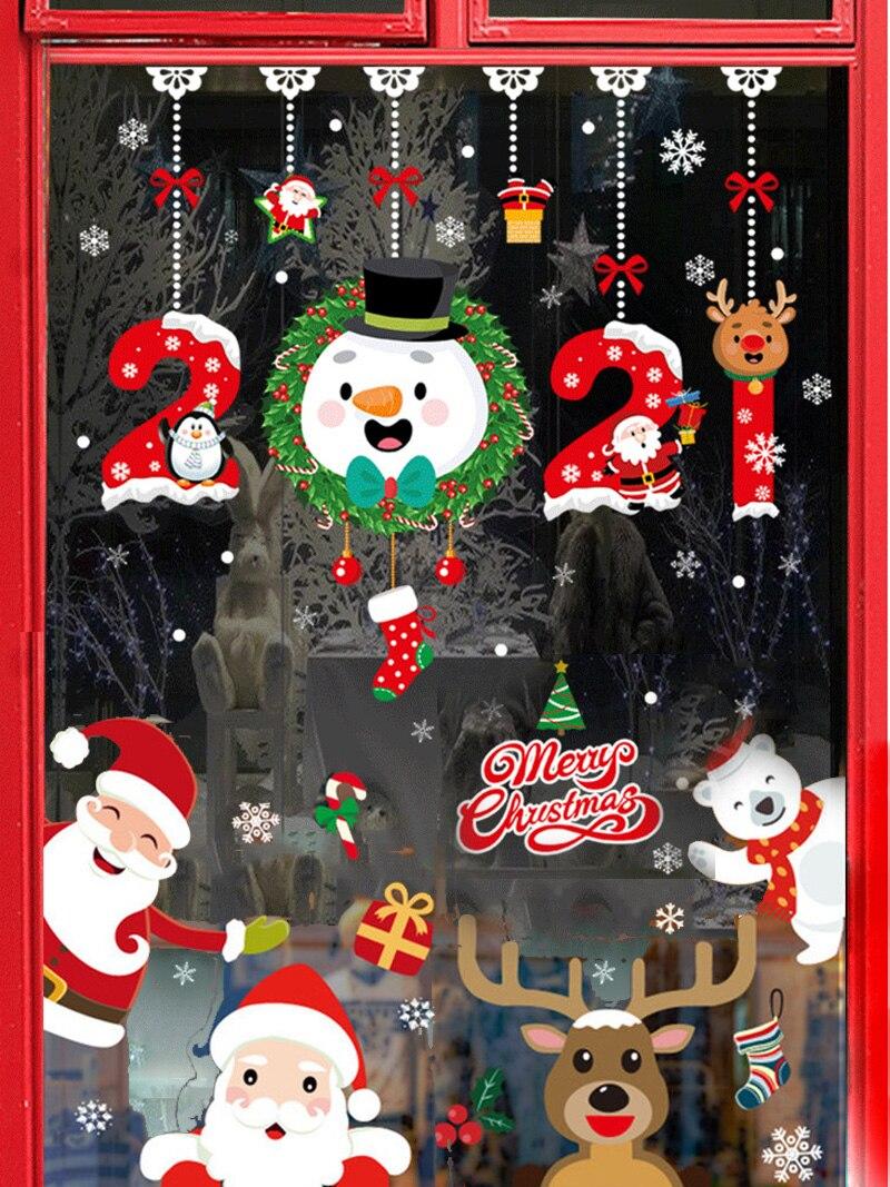 Wall Window Stickers Ornaments Snowflake Merry Frozens Xmas-Tree Deer Santa-Claus New-Year-Decor