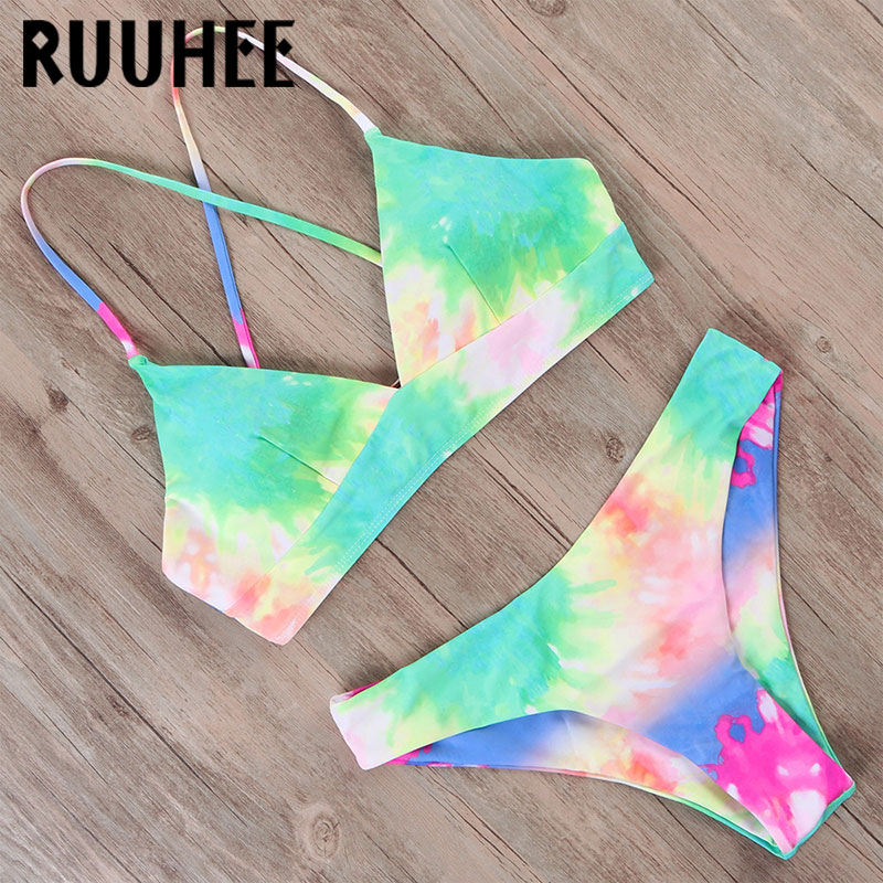 RUUHEE Tie Dye Bikini 2020 Women Swimwear Push Up Swimsuit Dinosaur Print Swimming Suit Bandage Sexy Summer Bathing Suit Female
