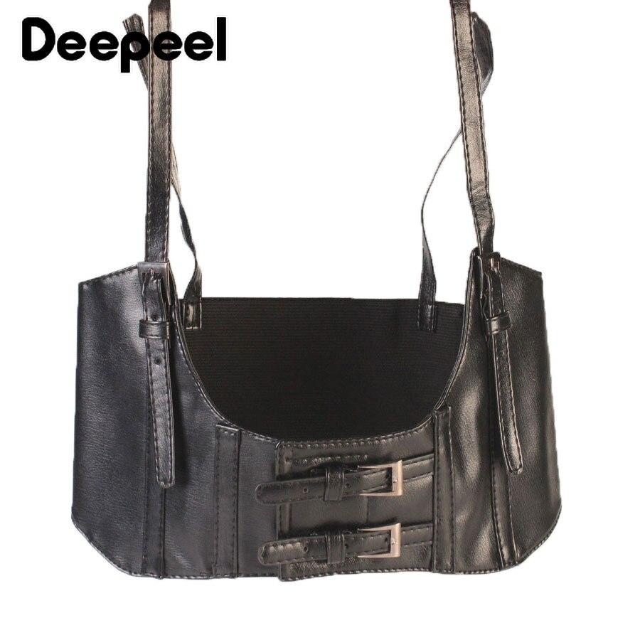 Deepeel 1pc 10cm*74cm Women PU Wide Sling Cummerbunds Leather Craft Accessories Girdle Retro Punk Style Girdle Girls Gift YK731