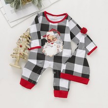 Christmas Baby Clothes Set Spring Autumn Casual Baby Santa Claus Printing Long Sleeve Rompers Kids Two-piece Outfit Set