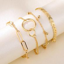 Simples nova pulseira de metal com corrente geométrica personalidade círculo padrão seta corrente 4 peças pulseira para homem e mulher