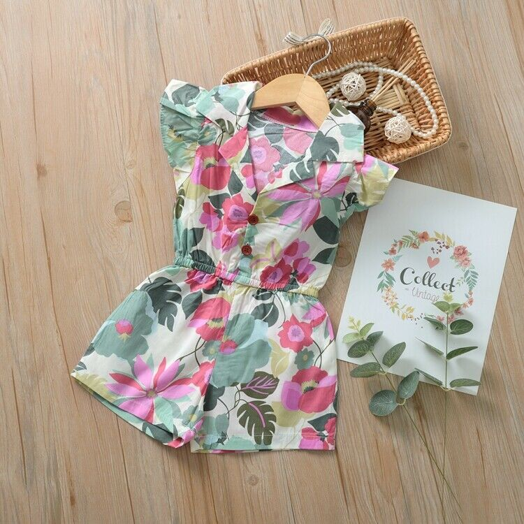 Fashion Toddler Baby Girls Sunflower Printed Romper Jumpsuit Playsuit Outfits
