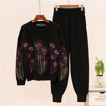 2019 Autumn women high quality embroidered sweaters + casual pants two piece set Fashion sweat suit A921