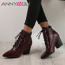 ANNYMOLI Winter Ankle Boots Women Lace Up Thick High Heel Short Boots PU Leather Pointed Toe Shoes Female Autumn Plus Size 34-43