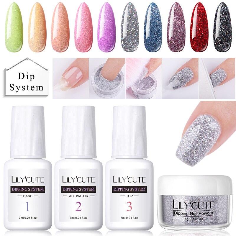 Lilyfofo pó para unhas gradiente, kits de glitter para unha francesa, colorido, pigmento seco natural