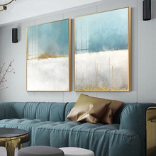 Abstract Flowing Color Canvas Painting Nodic Baby Blue Poster Print Unique Wall Art Pictures for Living Room Bedroom Home Decor