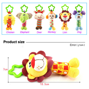 Image 5 - תליית קטיפה תינוק צעצוע רעשן יפה קריקטורה בעלי החיים פעמון יילוד עגלת אביזרי תינוק צעצועי 6 סגנון אריה צבי פיל WJ148