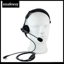 Alta qualidade 2 pinos rádio em dois sentidos boom mic fone de ouvido com em linha ppt para baofeng walkie talkie UV 5R 888s, wouxun tyt