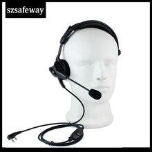 Hohe Qualität 2 Pins Zwei Weg Radio Boom Mic Headset Kopfhörer Mit In linie PPT Für Baofeng Walkie Talkie UV 5R 888S, WOUXUN TYT