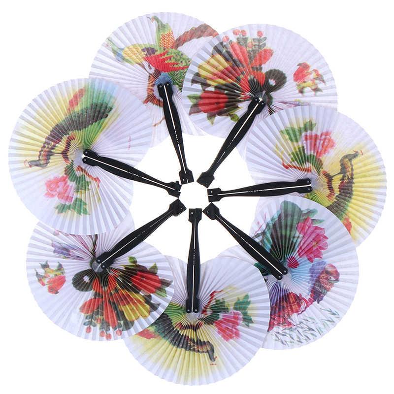 جيب للطي مروحة اليد دائرة مستديرة مطبوعة ورقة ديكور حفلات هدية مروحة الزخرفية شيك الإناث مروحة يدوية الصينية