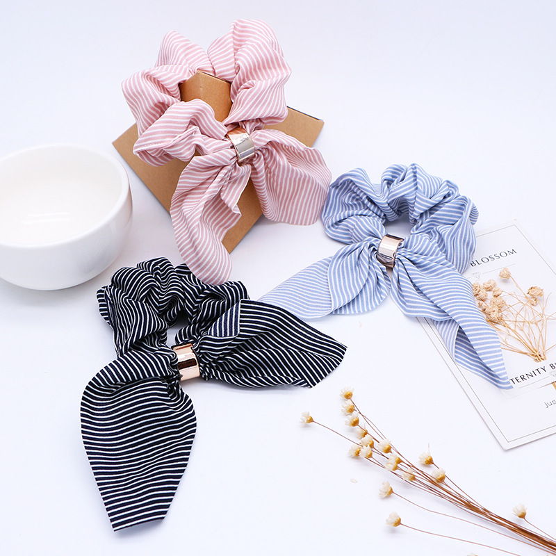 Cute Rabbit Ear Striped Hair Accessories Elastic Hair Band Headwear Hair Rope For Women Girls Rubber Band Tie Hair Scrunchies