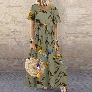 Women's Printed Sundress ZANZEA Bohemian Summer Maxi Dress Casual Short Sleeve Vestidos Female High Waist Robe Femme Plus Size plus size women s printed maxi dress zanzea 2020 bohemian summer sundress casual sleeveless beach vestidos female v neck robe