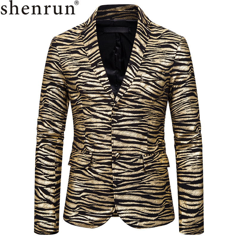 Shenrun Men Blazer Slim Fit Fashion Jacket Tiger Stripe Print Suit Jackets Stage Singer Host Costume Casual Blazers Gold Silver
