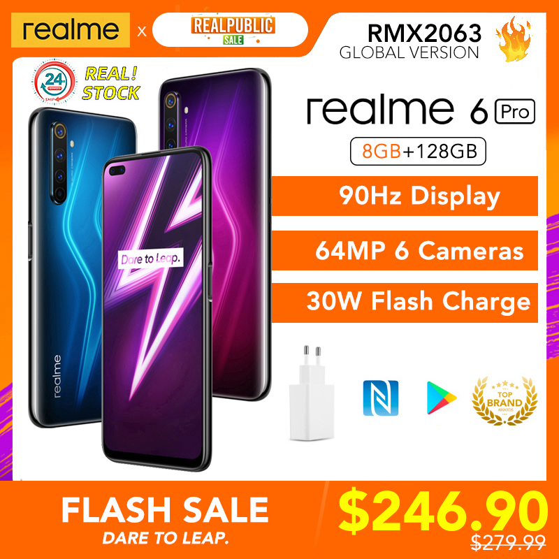 realme 6 Pro 6pro 8GB RAM 128GB ROM Global Version Mobile Phone Snapdragon 720G 30W Flash Charge 64MP Camera EU Plug NFCellphone Cellphones  - AliExpress