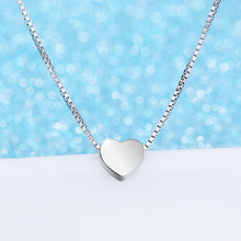925 Sterling Silver Love Necklace Simple Fashion Silver Jewelry For Women Heart Pendant Engagement Wedding Jewelry