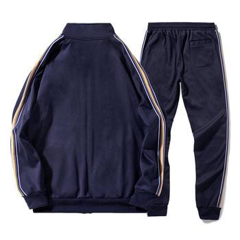 White Black Men Set Fashion 2021 Autumn Spring Brand Casual Sportswear Mens Tracksuit Sports Two Piece Striped Hoodie Pant Male 5