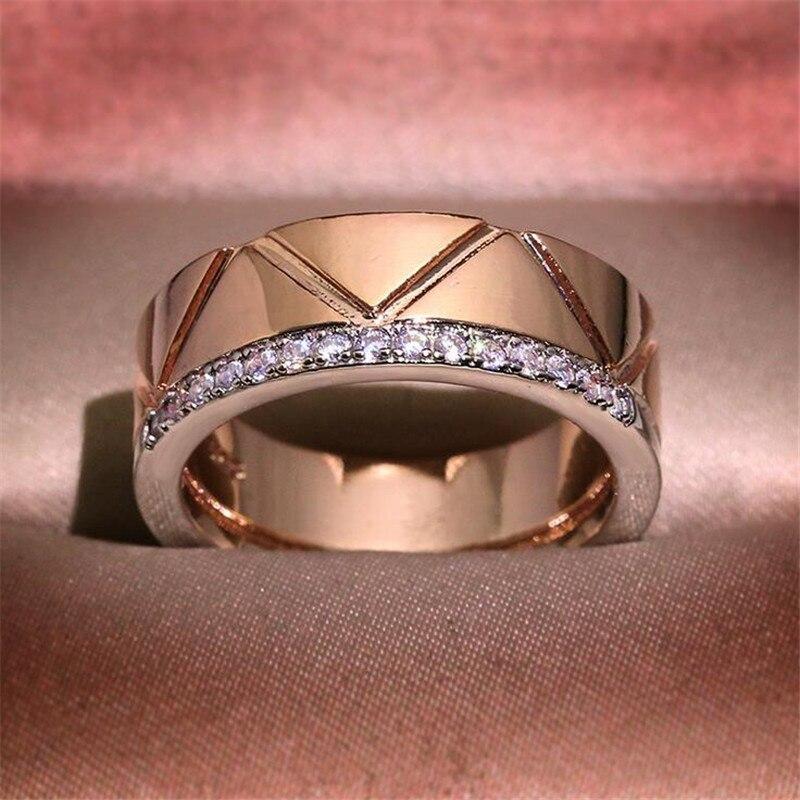 Offre spéciale bijoux de mode 925 en argent Sterling et or Rose remplir séparé or AAA cubique Zircon rayure femmes bague de mariage cadeau - 3