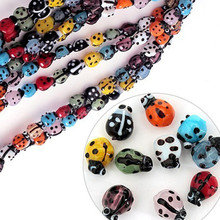 Fashion Ladybug Lampwork Glass Loose Beads Mix color Animal Pendant 13MM xgb100