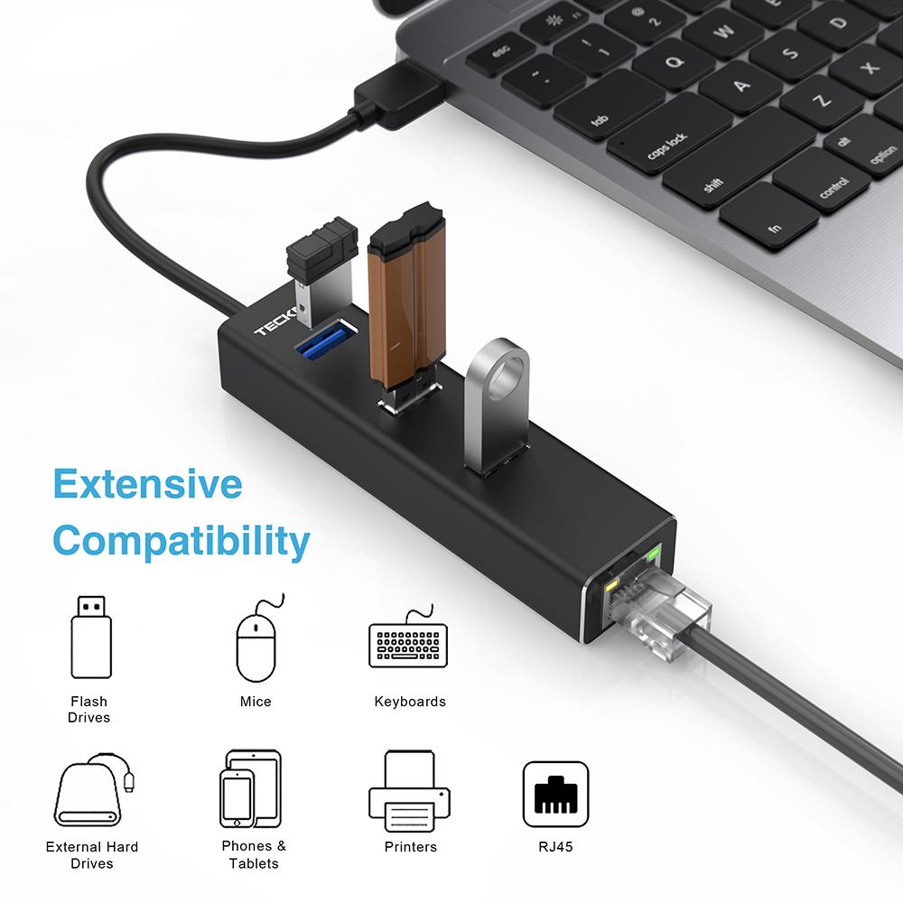 TeckNet <font><b>USB</b></font> 3.0 <font><b>Lan</b></font> Hub <font><b>to</b></font> Gigabit <font><b>Ethernet</b></font> <font><b>RJ45</b></font> with10/100/<font><b>1000</b></font> Adapter 3-Port <font><b>USB</b></font> 3.0 Hub <font><b>LAN</b></font> Wired Network High Speed Adapter image