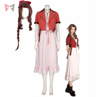 Hot Game Final Fantasy Vii Aerith Cosplay Costume Halloween Pink Grid lace Dress short top hairpin neklace wig for women girl