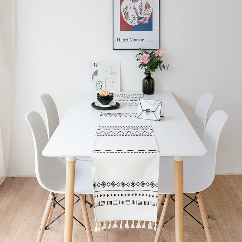 DUNXDECO Table Runner Party Desk Decor Hot Insulation Modern Bohemia White Black Geometric Chenille Soft Waterproof Fabric Mat