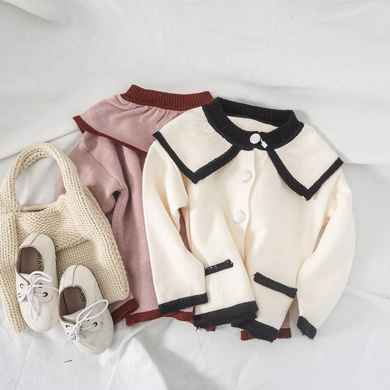 Girl'S Sweater 2019 Autumn New Style Loose-Fit Korean-style Network Hong Yang Gas Casual Fold-down Collar Medium-small CHILDREN'