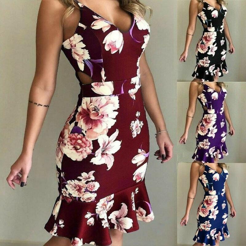 2019 Women Sexy V-neck Casual Party Short Dress Sundress Boho Floral Women Sleeveless Bodycon Ruffles Dresses
