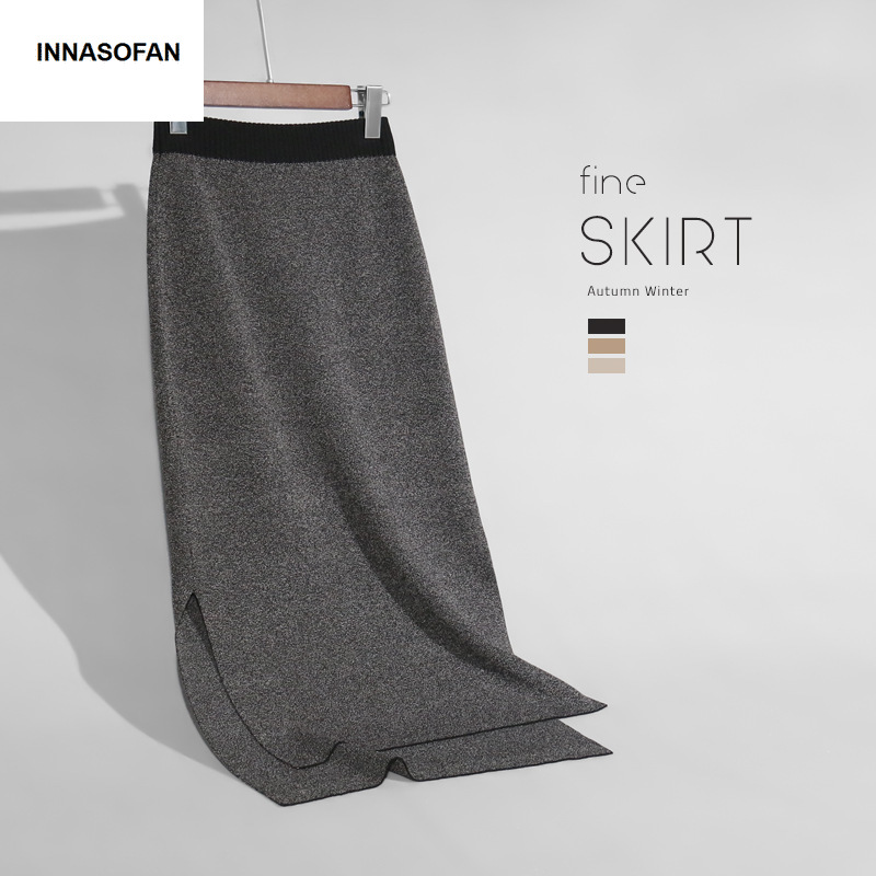 INNASOFAN tricoté jupe femmes automne-hiver sexy taille haute jupe à la mode haut de gamme chic longue irrégulière jupe