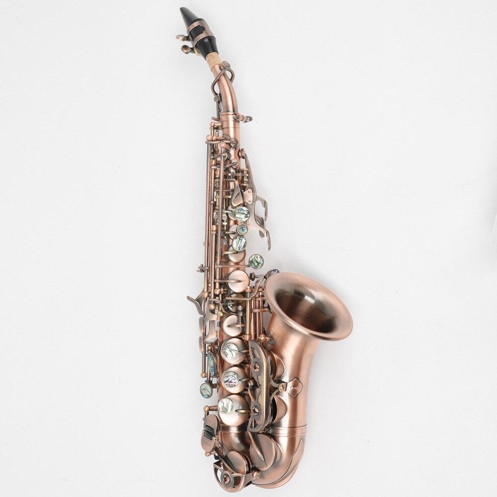B плоский винтажный медный саксофон с тройным колено, Западный музыкальный инструмент 6