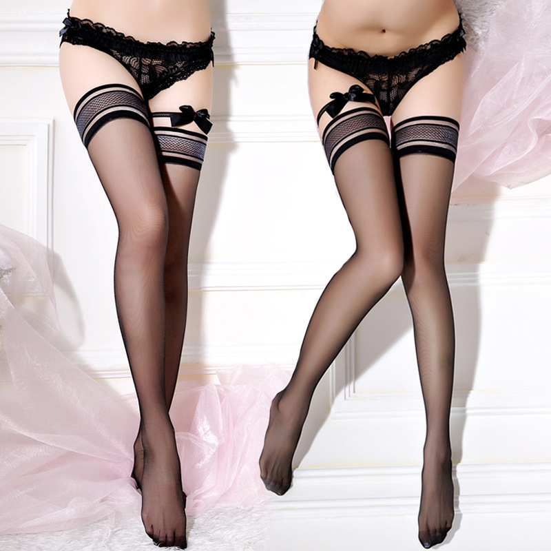 Sexy Lace Top Silicone Stay Up Thigh High Stockings Silk Transparent Stockings With Bow Leg Ring Women Sexy Lingerie