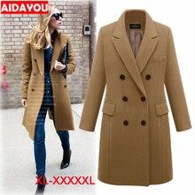 Womens Woollen Overcoat Double-breasted Lapel coat plus size Fashion Loose Winter Warm Long Sleeve Woolen Jacket Coat ouc314