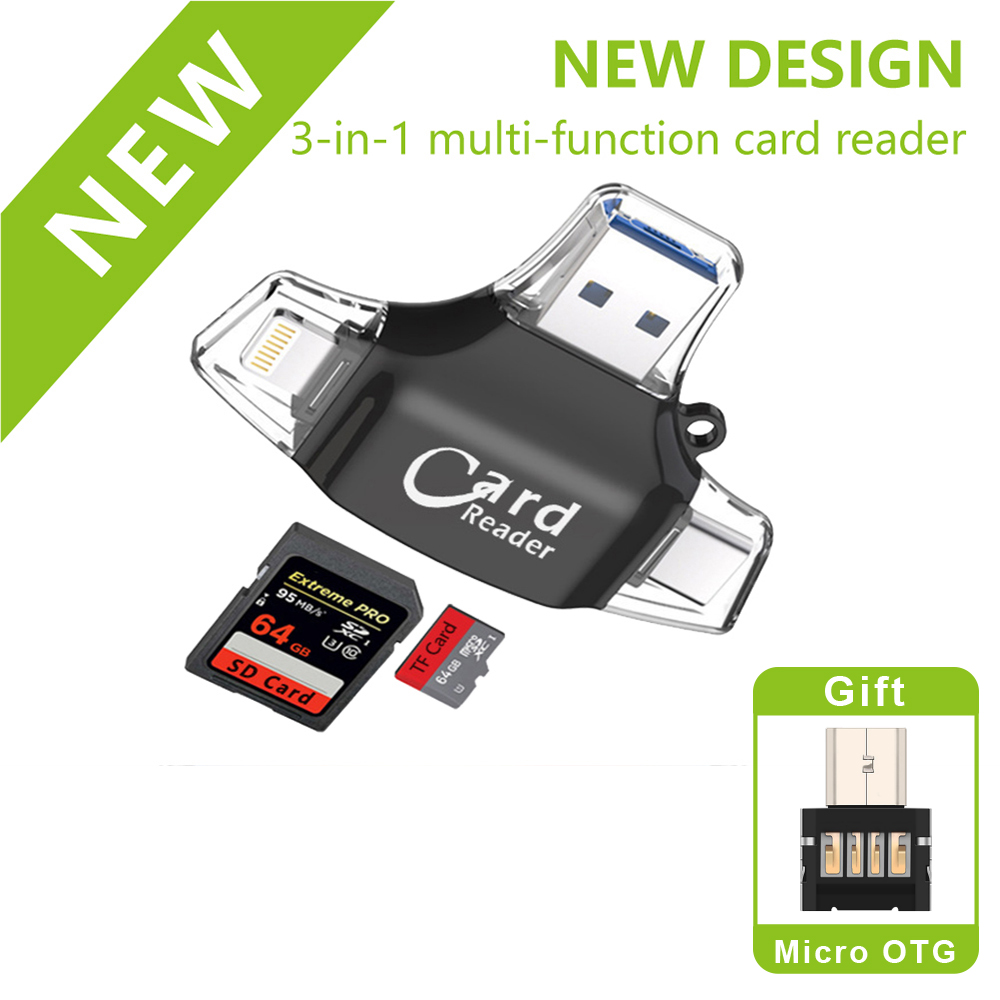 New SD Card Reader Microsd Memory OTG Card Adapter For Iphone Ios Tipo C Android Phone PC Reader For TF8/16/32/64/128G
