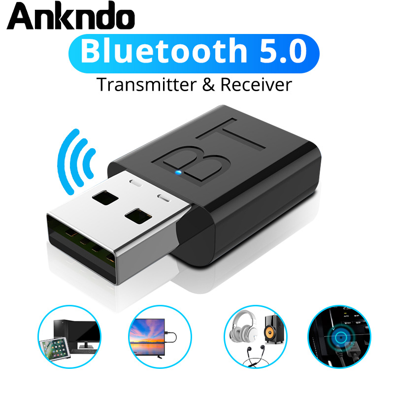 ANKNDO BT5.0 Bluetooth Adapter Wireless Transmitter Receiver Car Kit Aux Audio Receive 3.5mm Jack USB Adaptor Amplifier Signal