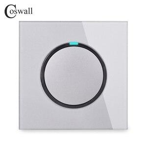 Image 3 - Coswall 1 комплект 1 способ случайный щелчок вкл/выкл настенный выключатель света светодиодный индикатор Хрустальная стеклянная панель Белый Черный Серый Золотой серии R11