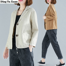 Woman Casual Long Sleeve Jacket Womens Black White Thin Blazer Mujer 2020 Spring Summer Linen Blend Blazers for Women