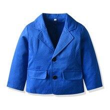2-8Y Boys Kids Toddler Blazer Jacket V-NECK Lapel Long Sleeve Buttons Fashion Coat Suits Blue