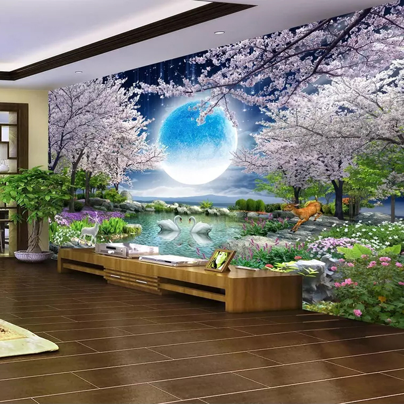 Custom-Mural-Wall-Paper-Moon-Cherry-Blossom-Tree-Nature-Landscape-Wall-Painting-Living-Room-Bedroom-Photo (1)