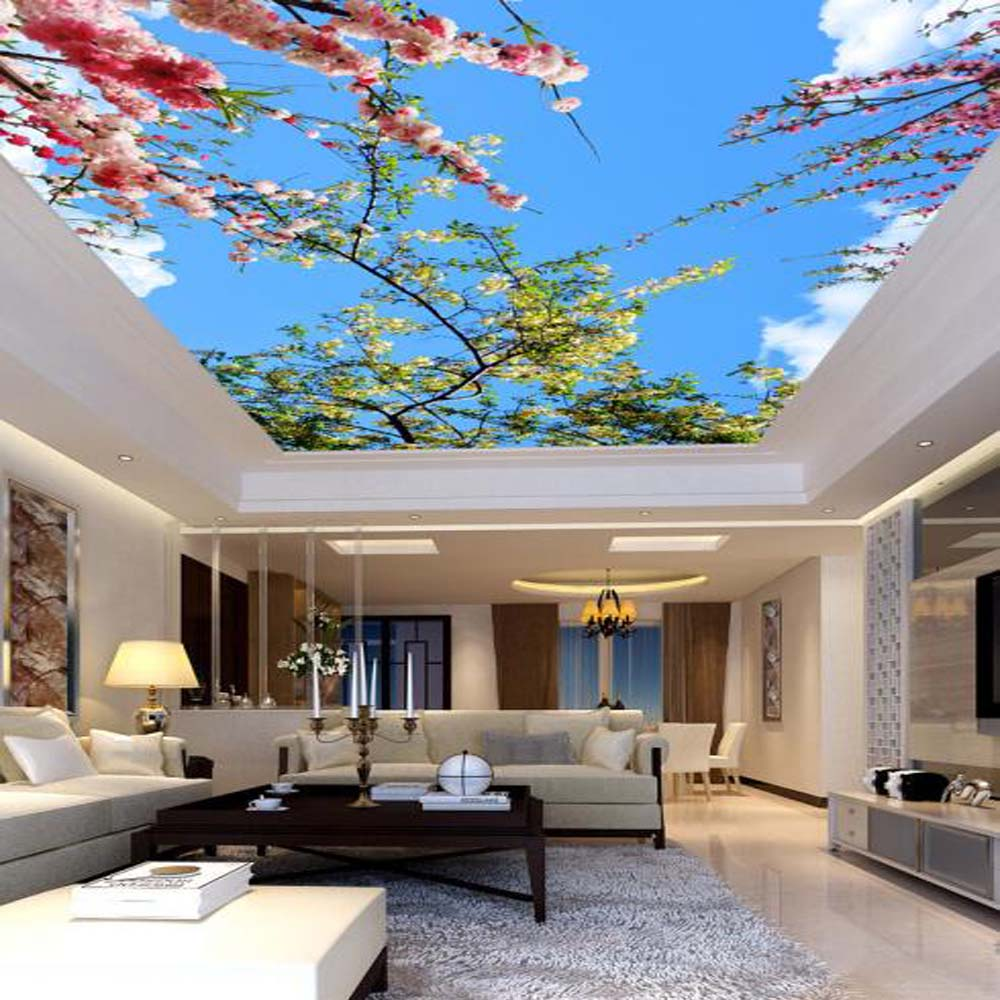 Vinyl Wallpaper Blue Sky Flower Mural Wallpapers For Ceilings Bedroom 3d Wall Paper Murais De Parede Seabird Murals