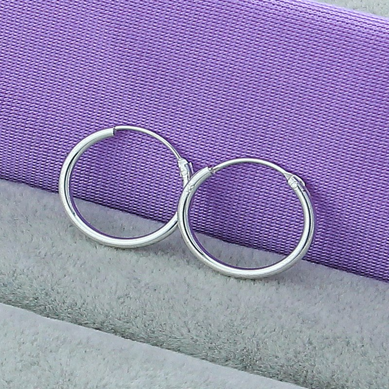 Hot Sale Small Hoop Earring 925 Silver Color Sterling Earrings For Women Jewelry fashion gift
