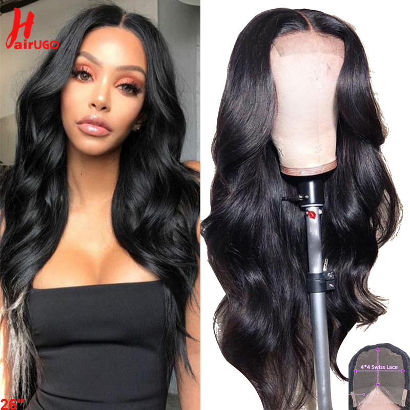HairUgo Wigs Human Hair Wigs Brazilian Body Wave 4x4 Lace Closure Wig Remy Pre Plucked Lace Closure Wigs For Woman Natural Color