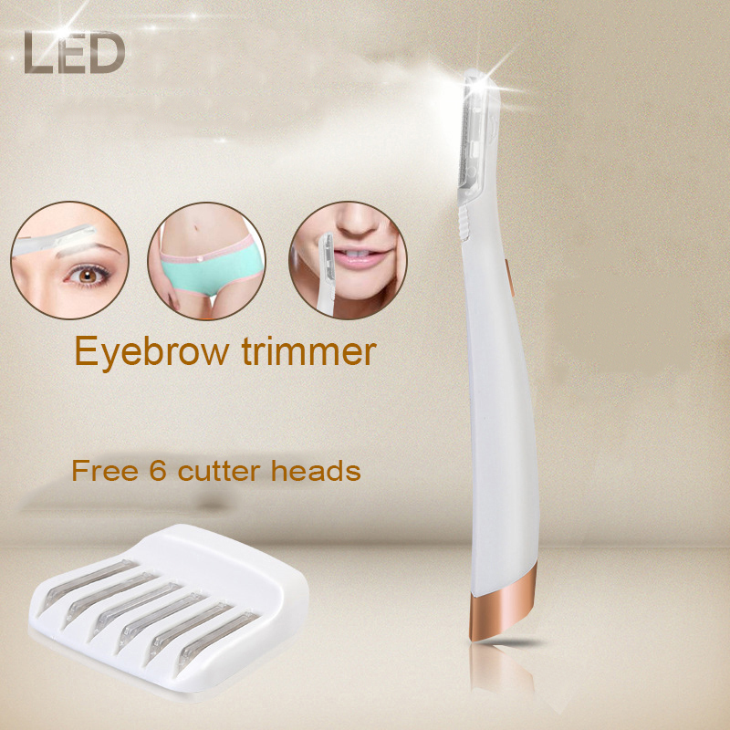 Mini Eyebrow Shaper Shaving Hair Tool LED Lighted Facial Dermaplaning Shaver for Women <font><b>Razor</b></font> Includes <font><b>6</b></font> Replacement Heads image