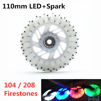 110mm LED speed skating wheel 104 208 flints Flash Firestone inline speed skates wheels 110 roller skate tyre Shine LED light