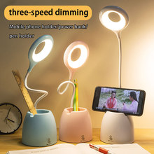 Desk Light Touch Bendable LED Table Lamp Eye-Protect Study Foldable Desktop Pen Holder USB 3Mode Home Bed Side Night Reading
