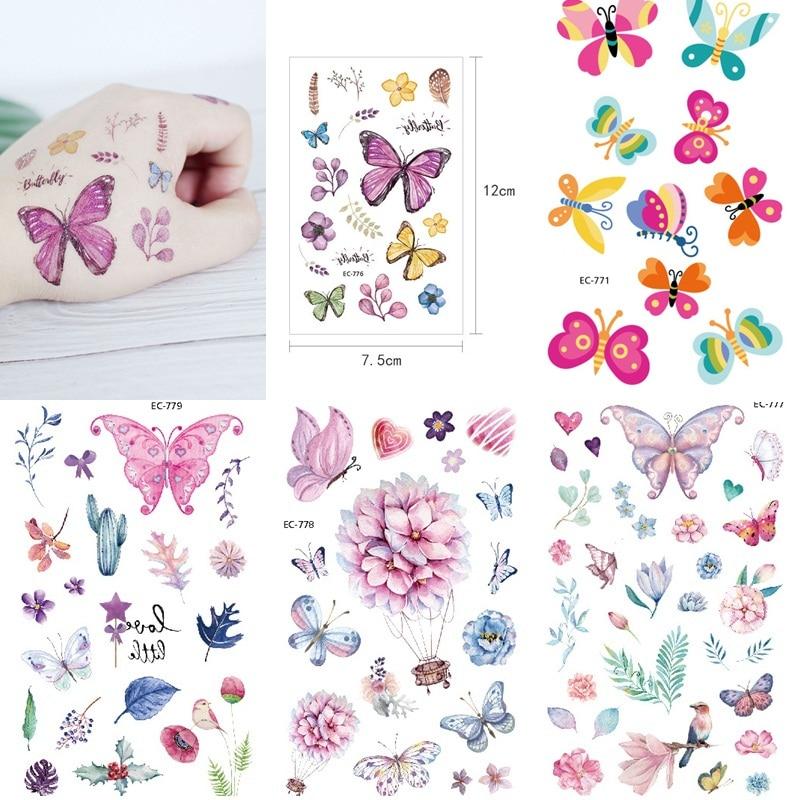 3pcs Mermaid Unicorn Flor Temporary Tattoo Stickers For Kid Children Woman Flower Tattoo Stickers Face Tatoo Stick Decora Makeup