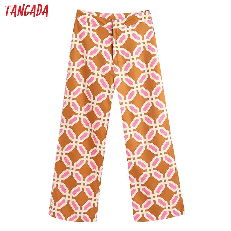 Tangada Fashion Women Retro Print Pants Trousers 2020 Vintage Style Zipper Casual Long Pants Pantalon BE364