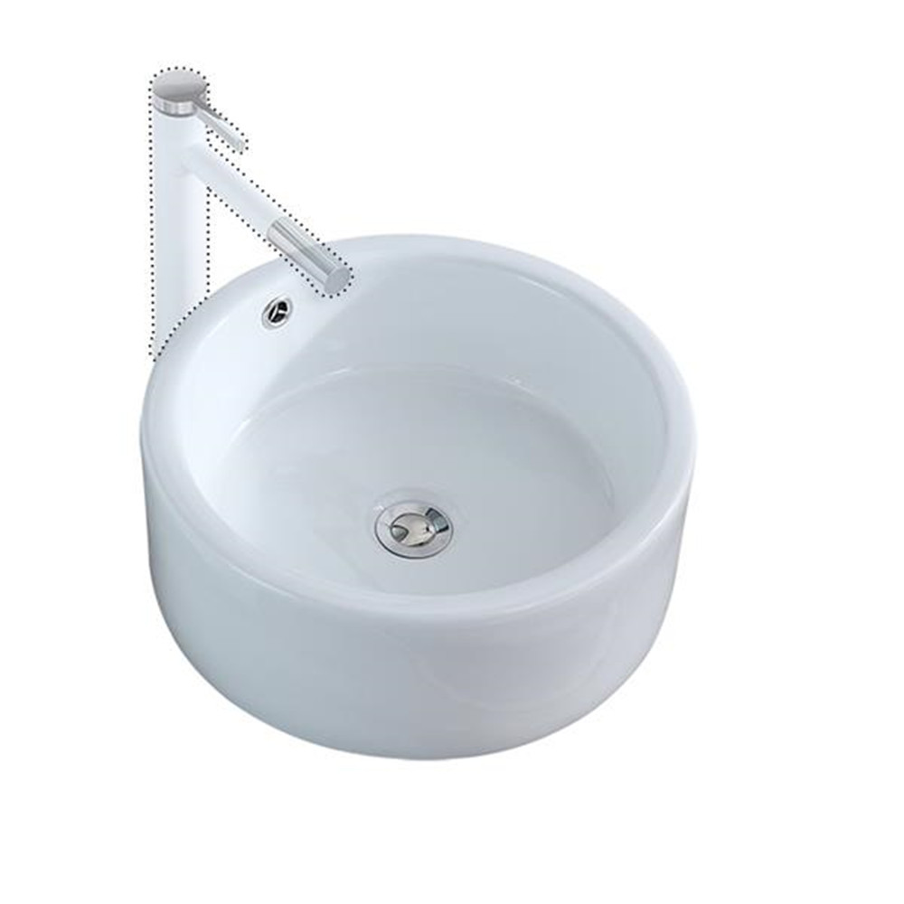 Bathroom Above Counter Round Style Ceramic Vessel Vanity Sink Art Basin - White Porcelain - With Pop Up Drain Stopper