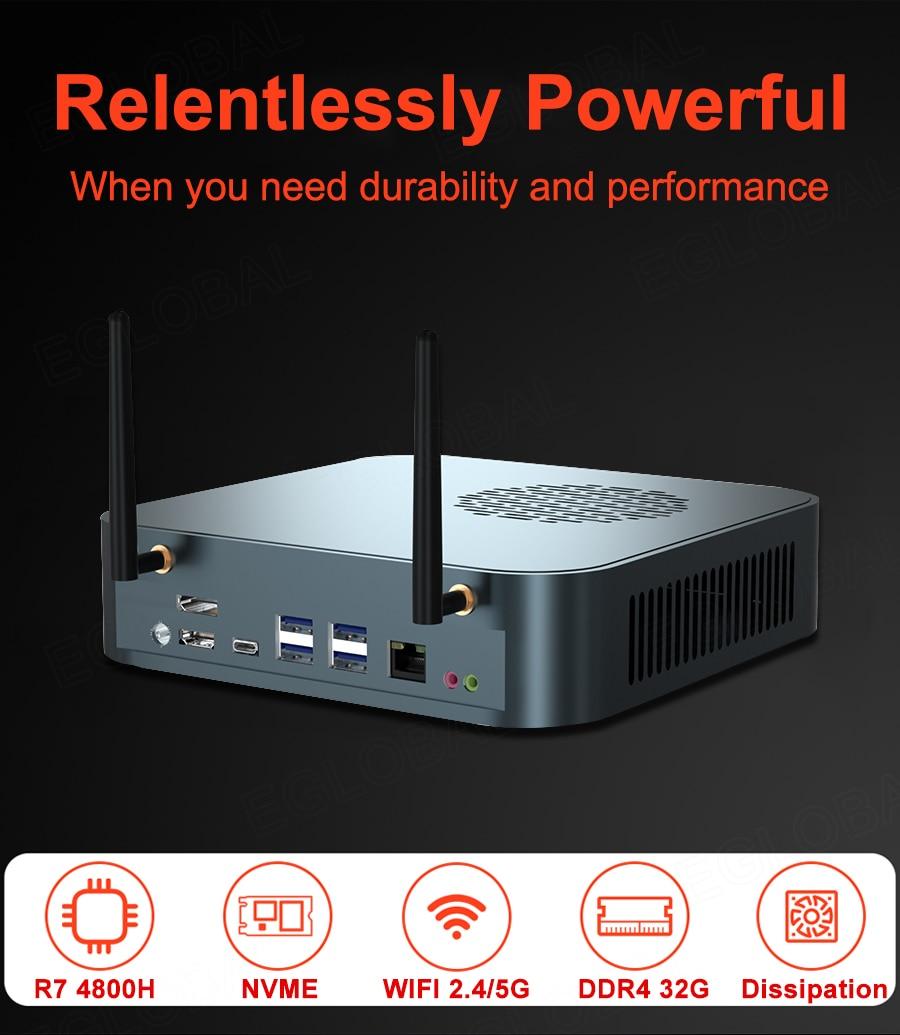 Новый игровой компьютер AMD Ryzen 7 4800H Мини ПК 8 ядер 12 потоков 2 * M.2 NVMe Windows 10 Pro 4K Radeon Graphics AX AX200 WiFi 6